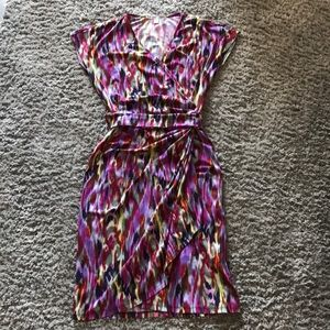 Multi-colored wrap dress